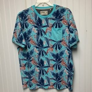 Hawaiian Style shirt with solid color pocket